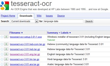 tesseract page at google